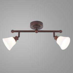 LHG Wand- oder Deckenstrahler - Landhausstil - Dunkelbraun - 2-flammig - Inklusive Halogenleuchtmittel 2 x G9  33 Watt