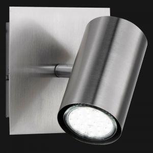 LHG Wandspot, modern, Nickel-matt, schwenkbar, inkl. GU10 5W LED Leuchtmittel