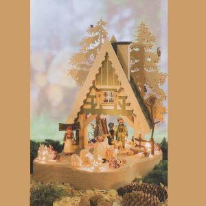 Weihnachtsbeleuchtung  Lichterhaus Motiv Waldhaus