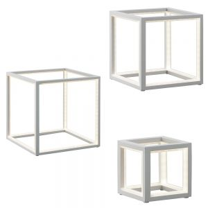 Weiße Tischleuchte Delux in drei Größen erhältlich