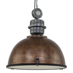 XXL Pendelleuchte mit halbrundem Schirm, Industrie-Stil used Look, in 3 Farben, höhenverstellbar, D= 52 cm, E27