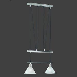 Zugpendelleuchte mit weiß matten Gläsern, 2 flammig