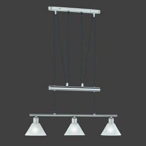 Zugpendelleuchte mit weiß matten Gläsern, 3 flammig