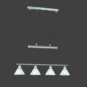 Zugpendelleuchte mit weiß matten Gläsern, 4 flammig