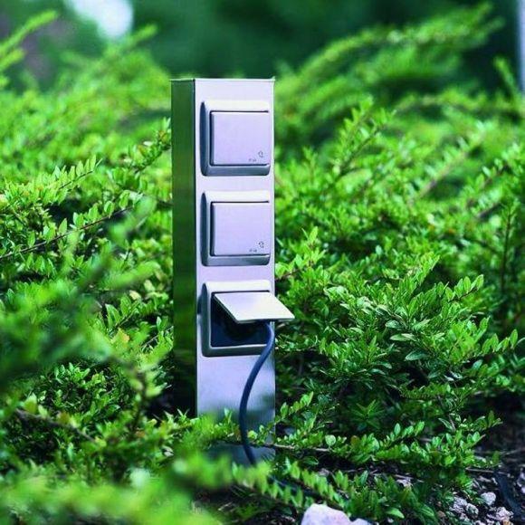 3 - fach Steckdosensäule aus Edelstahl - Höhe 50cm