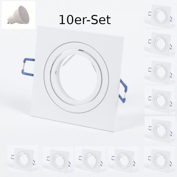 10-Set weißer LED Einbaustrahler für die Decke, inkl. 7W, GU10, 9,1 x 9,1 cm