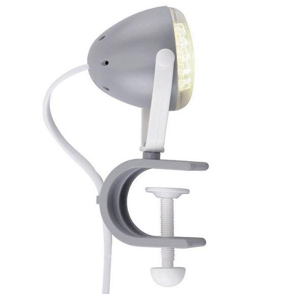 LED-Klemmleuchte aus Kunststoff in grau-weiß, 30 LEDs, 4000K