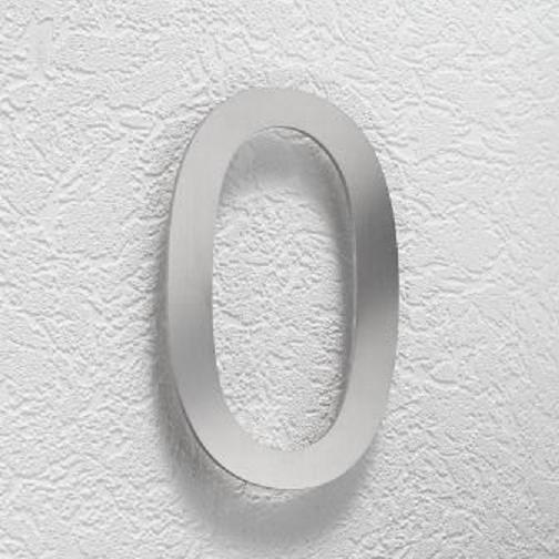 Hausnummer 0 aus Edelstahl, klein Hausnummer 0