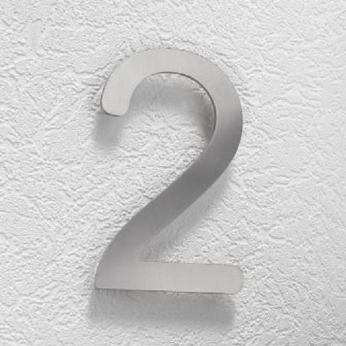 Hausnummer 2 aus Edelstahl, klein Hausnummer 2