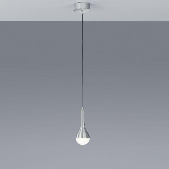 1-flg. LED-Pendelleuchte Drops in Alu-gebürstet - Glas weiß