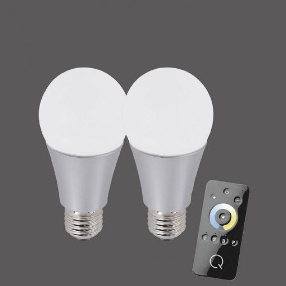 2er Set  A60 E27 LED-Leuchtmittel 8,5W CCT-Lichtmanagement
