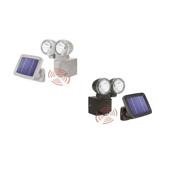 2er led solar strahler mit 90 bewegungsmelder 2 farben wohnlicht. Black Bedroom Furniture Sets. Home Design Ideas