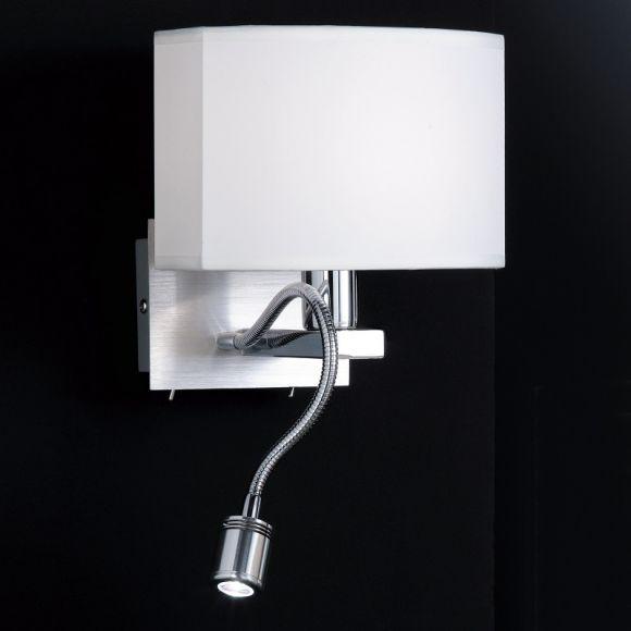 2-flammige Wandleuchte, ovaler Schirm, biegsamer LED-Leuchtarm