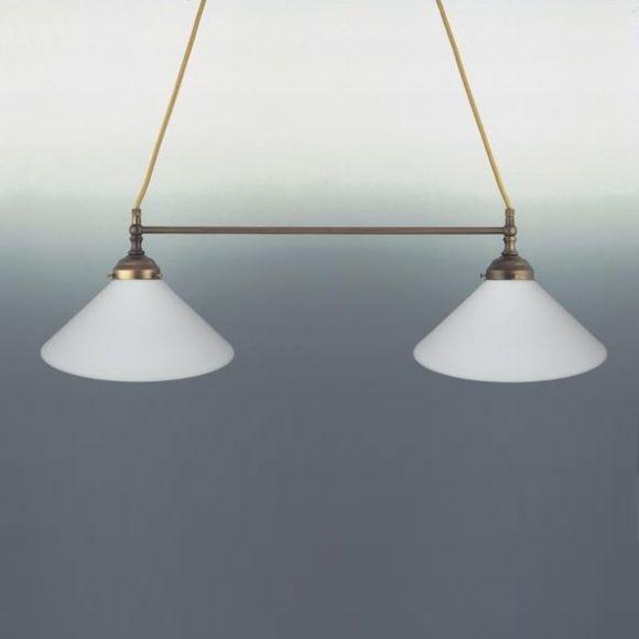 2-flg. Pendelleuchte in Altmessing - Mundgeblasenes Opalglas