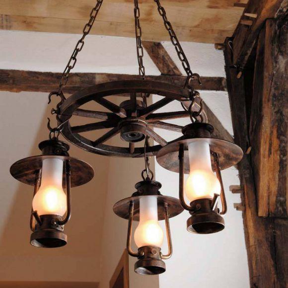 wagenrad leuchte im westernstil 93cm von robers leuchten wohnlicht. Black Bedroom Furniture Sets. Home Design Ideas