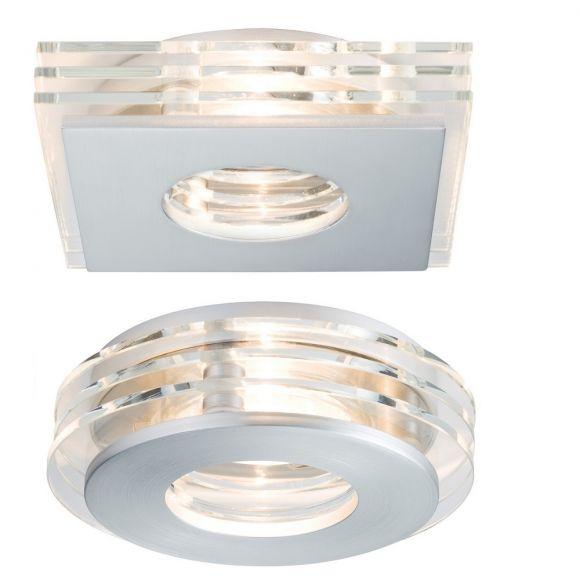 3er Set LED-Einbaustrahler Alu / Glas, LED je 3,5W, rund oder eckig