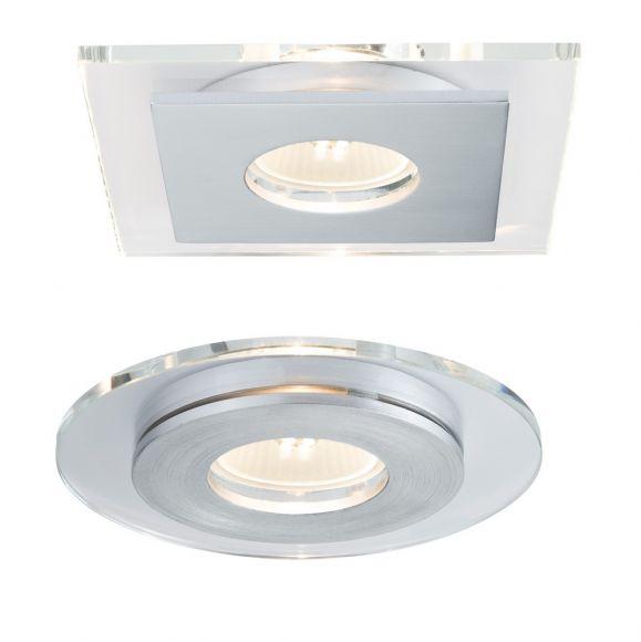3er Set LED-Einbaustrahler, Alu / Glas, rund oder eckig