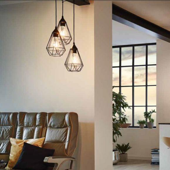 3flammige pendelleuchte rund in schwarz oder kupfer wohnlicht. Black Bedroom Furniture Sets. Home Design Ideas