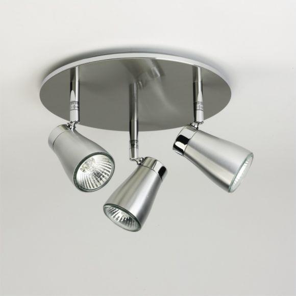 LHG 3-flammiger Deckenstrahler - Aluminium gebürstet - inklusive Leuchtmittel 3x GU10 50W