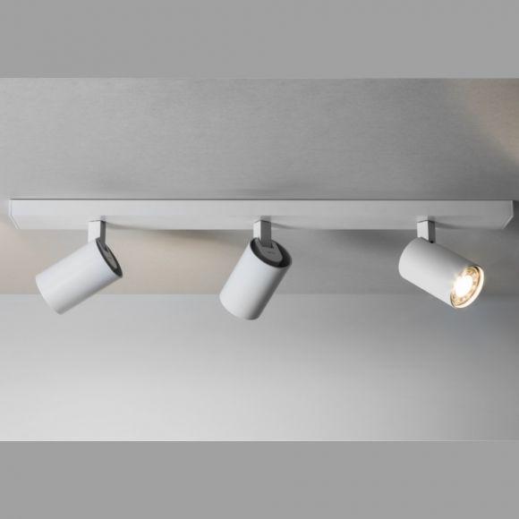 3-flammiger Strahlerbalken - Weiß - inklusive Leuchtmittel 3x GU10 50W