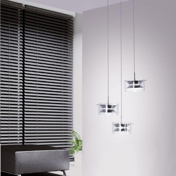 3-flg LED- Pendelleuchte in Chrom Ø 38 cm - 3x 4,8 W LED