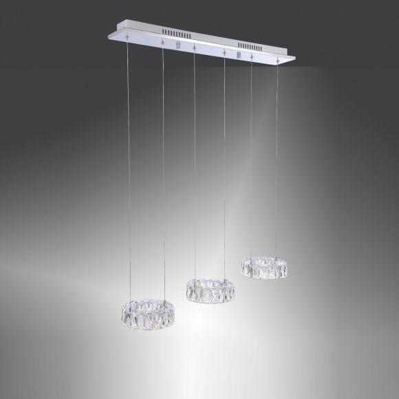 3-flg Pendelleuchte mit Kristallglas, inklusive 3x 7,2Watt LED