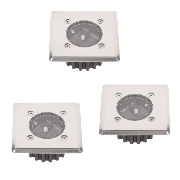 LHG 3-er Set LED-Solar-Bodeneinbauleuchte McShine  IP44 Edelstahlfront eckig