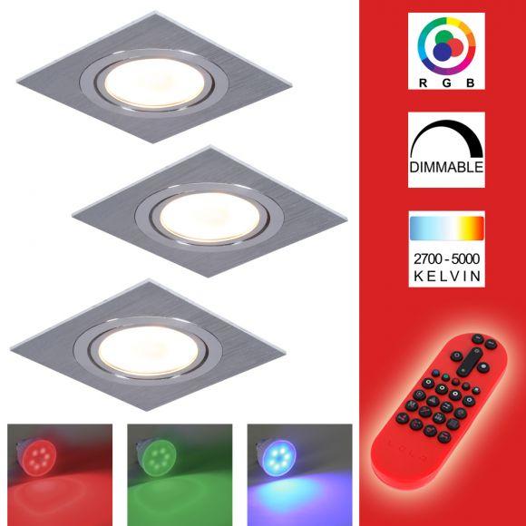 3-er Set RGB Decken-Einbaustrahler, Metall, Aluminium, eckig,schwenkbar,inkl. Fernbedienung