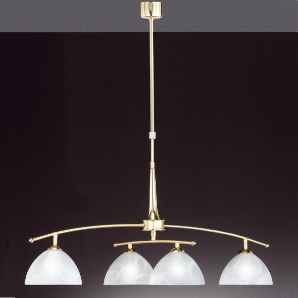 LHG 4-flammige Pendelleuchte in Messing-matt - verstellbar in Höhe und Breite - inklusive Leuchtmittel 4x E14 25W