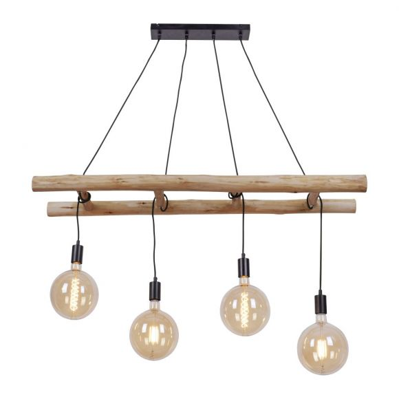 4 flammige Vintage Pendelleuchte mit Holzbalken, Leuchtmittel individuell verstellbar