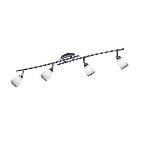 4-flg. Deckenstrahler in Chrom Glas weiß / Rand klar, + Extra 1x GU10 LED Leuchtmittel zur freien Nutzung