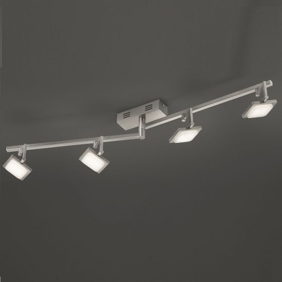 4-flg. LED-Deckenleuchte Chrom, 4 x 4,3W, dimmfähig
