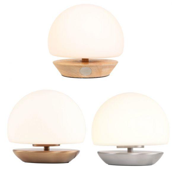 4-stufig dimmbare Kugeltischleuchte aus weißem Glas, Nachttischlampe mit bonzefarbenem Fuß, inkl. LED