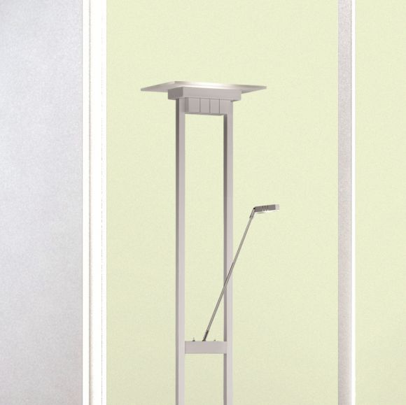 Hochwertige Standleuchte mit LED-Lesearm, Tastdimmer - Aluminium matt und Platin