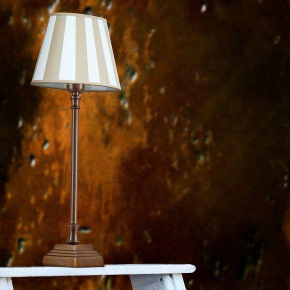 tischleuchte mit fu in bronze antik und creme beigefarbenen schirm wohnlicht. Black Bedroom Furniture Sets. Home Design Ideas