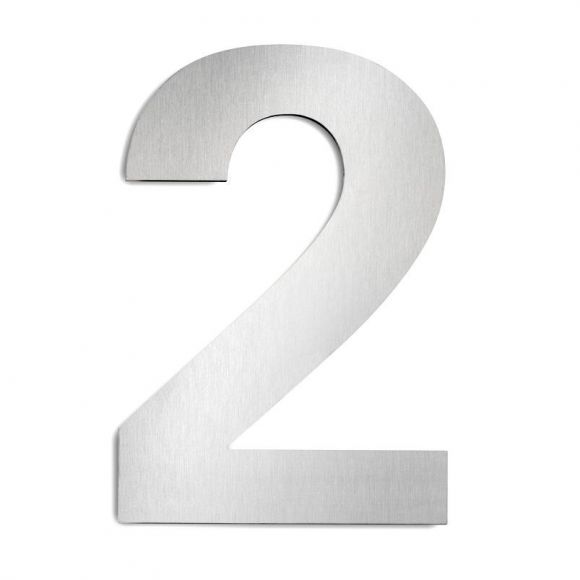 Hausnummer 2 aus Edelstahl, groß Hausnummer 2