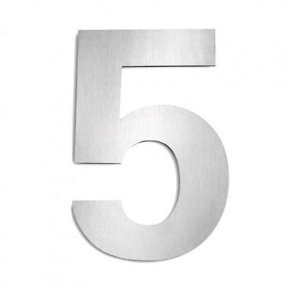 Hausnummer 5 aus Edelstahl, groß Hausnummer 5