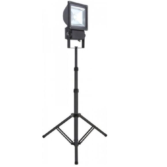 70Watt LED-Baustrahler auf  Stativ, höhenverstellbar mit 5Meter Kabel, 36V, Alu  Druckguss, Klarglas, 4500lm, IP65 - inkl. LED Taschenlampe