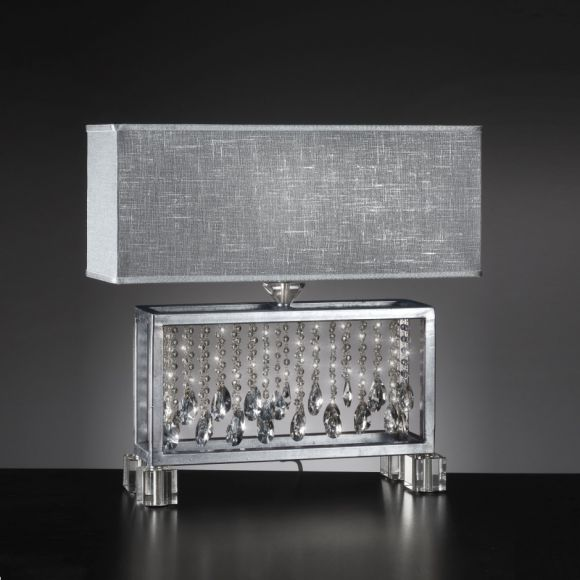 Adrette Tischleuchte - Textillampenschirm in Silbergrau - Oberfläche in Blattsilber