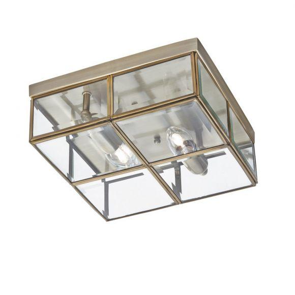 Antike Deckenleuchte Flush in 2 Oberflächen und klarem Glas