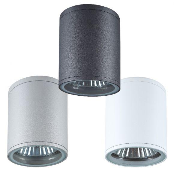Außenleuchte - Rundes Downlight in moderner Optik - Ø10,7cm - 3 Farben Weiß, Silbergrau, Anthrazit