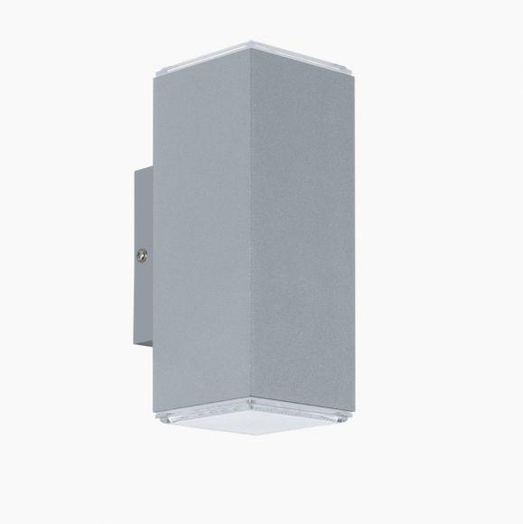 Außenwandleuchte eckig, Up&Down, silber, 2x3,7Watt LED