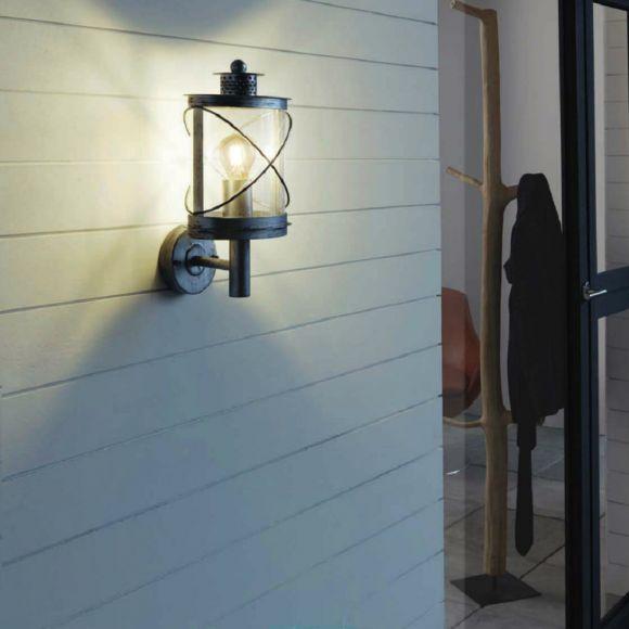 Außenwandleuchte Hilburn Stahl verzinkt- schwarz - hängend