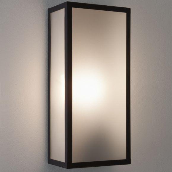 LHG Außenwandleuchte in Schwarz mit mattem Glas, IP44 - Höhe 35cm - inklusive Leuchtmittel