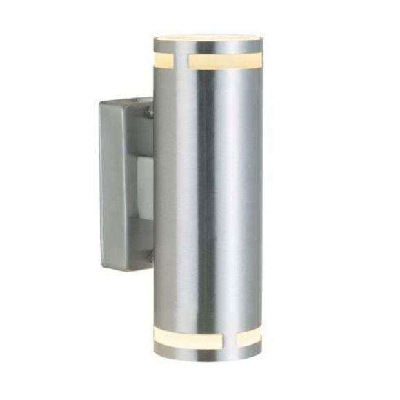 Aussenwandleuchte mit 2 Spots als Ober-und Unterlicht aus Aluminium, Höhe 18 cm