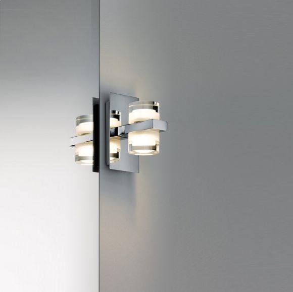 Badezimmer LED-Wandleuchte  2x3,5W, Chrom, Weiß, Metall, Acryl, 2700K warmweiß, IP44