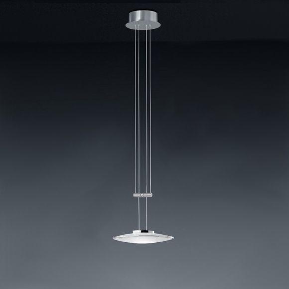 Bankamp 1-flg Zugpendelleuchte Nickel-matt / Chrom, LED 6,4W