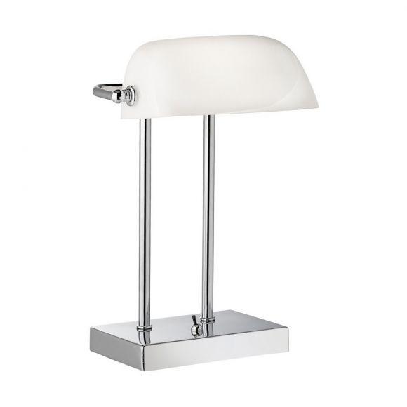 Bankerslamp in Chrom mit weißem Glas