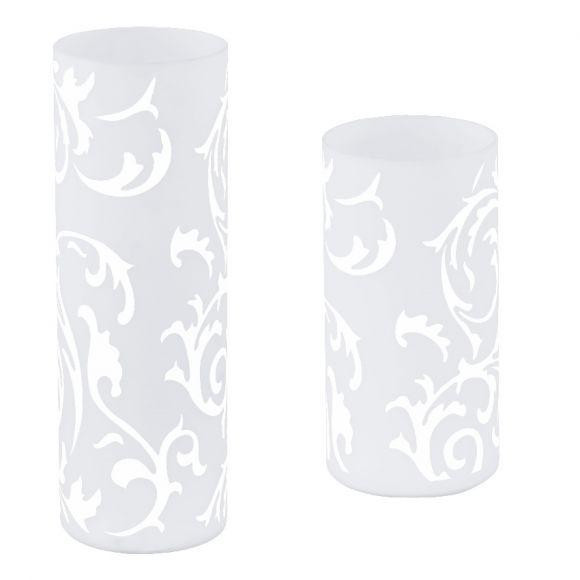 bedruckte tischleuchte aus wei em glas mit floraler musterung wohnlicht. Black Bedroom Furniture Sets. Home Design Ideas