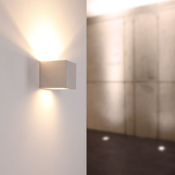 Beton-Optik Gipswandleuchte Korytko12 hell, Up-and Downlight hellgrau